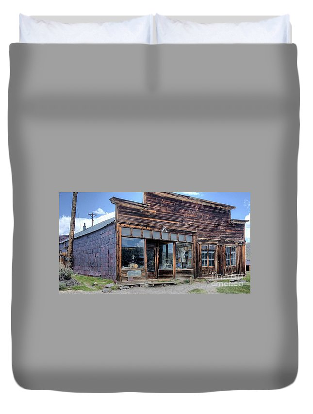 Old Store Supplies Historic Memories Mining Town Businesses Schools Bars Mine Blacksmith School House Hotel Church Union Hall Post Office Barber Shop Mill Bodie Mining Town Northern California. Duvet Cover featuring the photograph Boone Store And Warehouse by Thomas Todd