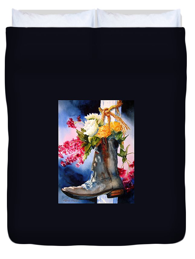 Cowboy Duvet Cover featuring the painting Boot Bouquet by Karen Stark