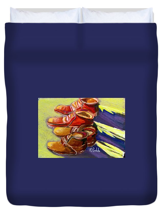 Art Duvet Cover featuring the pastel Boots by Katherine Cobb