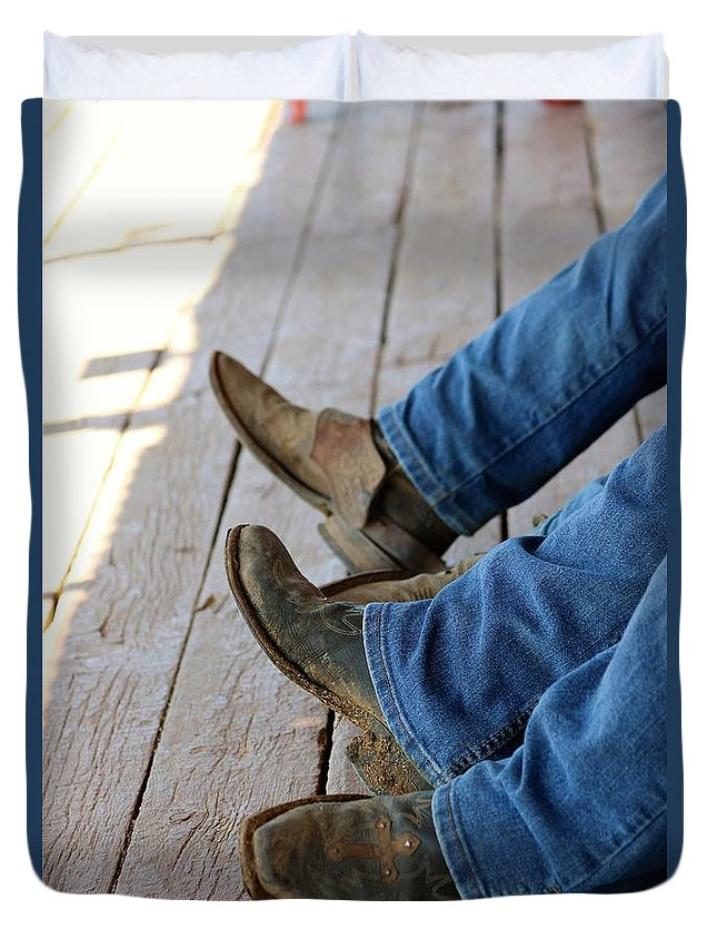 Cowboy Duvet Cover featuring the photograph Boots by Lisa Spero
