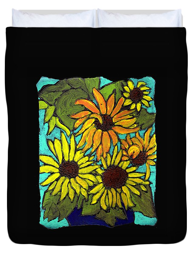 Flowers Duvet Cover featuring the painting Boquet Of Sunshine by Wayne Potrafka