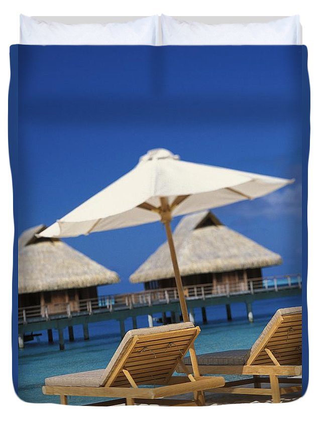 Above Duvet Cover featuring the photograph Bora Bora, Beach by Kyle Rothenborg - Printscapes
