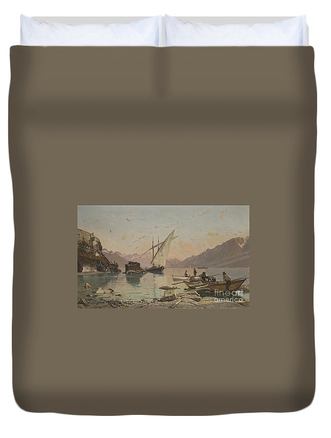 Fran�ois Bocion 1828 - 1890 Bord Du Lac A Rivaz Duvet Cover featuring the painting Bord Du Lac A Rivaz by Celestial Images