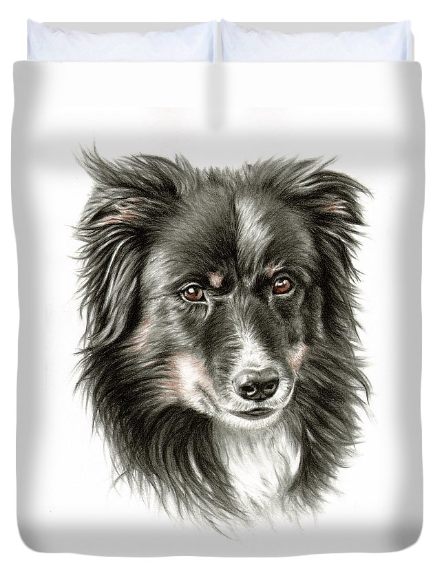 Dog Duvet Cover featuring the drawing Border Collie Portrait by Nicole Zeug