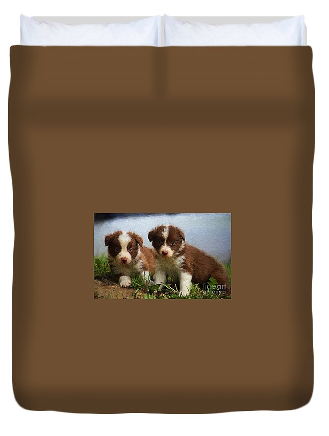 Dogs Duvet Cover featuring the digital art Border Collies by Garland Johnson