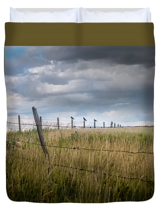 Barbed Wire Duvet Cover featuring the photograph Border Patrol Birds by Norm Sparks