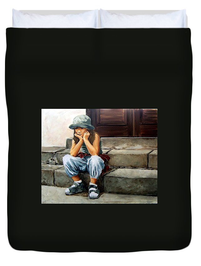 Figurative Little Girl Portrait Realism Child Kid Duvet Cover featuring the painting Bored by Natalia Tejera