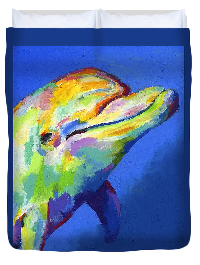 Dolphin Duvet Cover featuring the painting Born To Live Free by Stephen Anderson