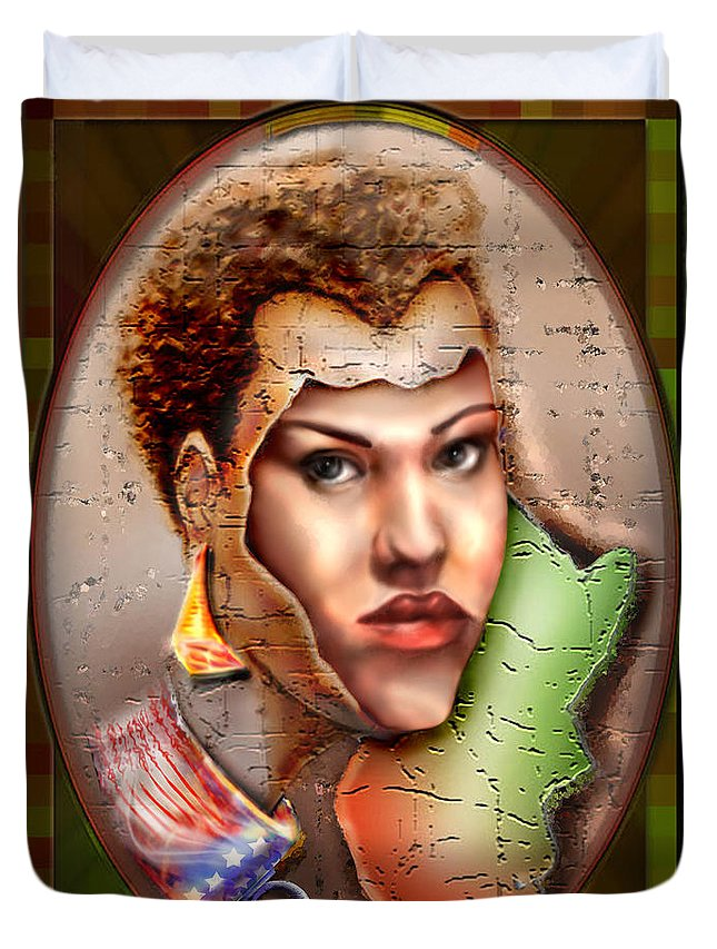 Woman Face Duvet Cover featuring the painting Borne A Nation by Reggie Duffie