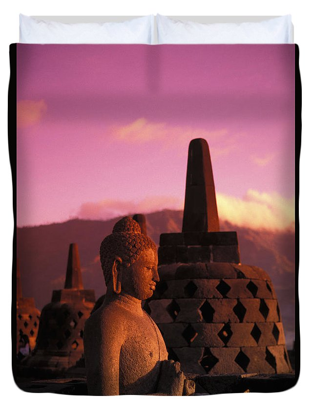 Ancient Duvet Cover featuring the photograph Borobudor Temple by Gloria & Richard Maschmeyer - Printscapes