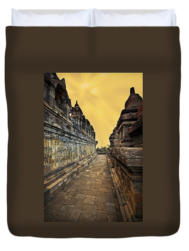 Duvet Cover featuring the photograph Borobudur Temple by Charuhas Images