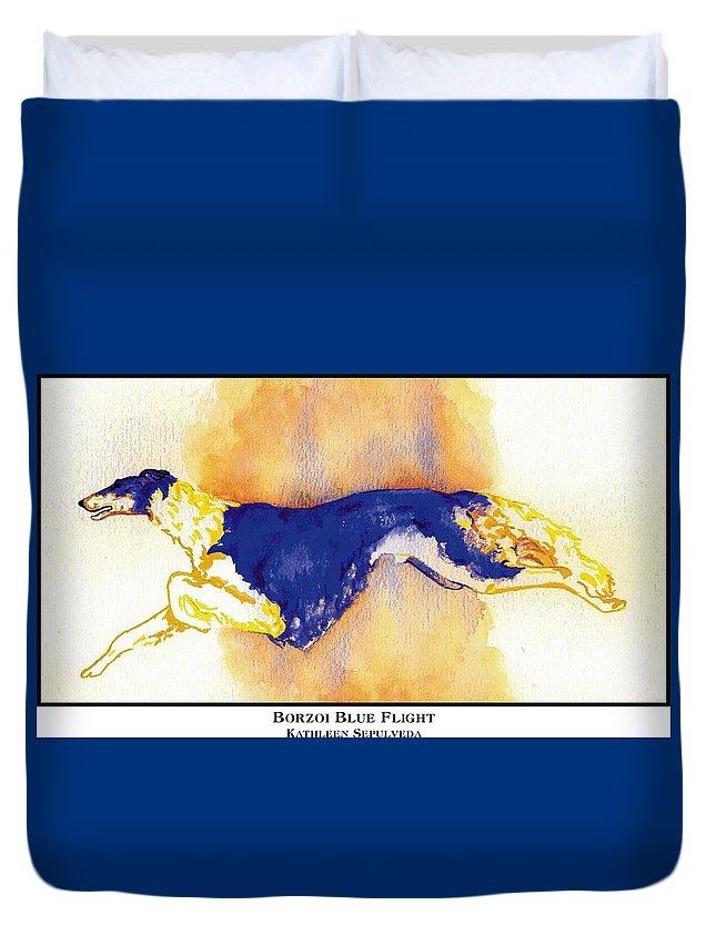 Borzoi Duvet Cover featuring the digital art Borzoi Blue Flight by Kathleen Sepulveda
