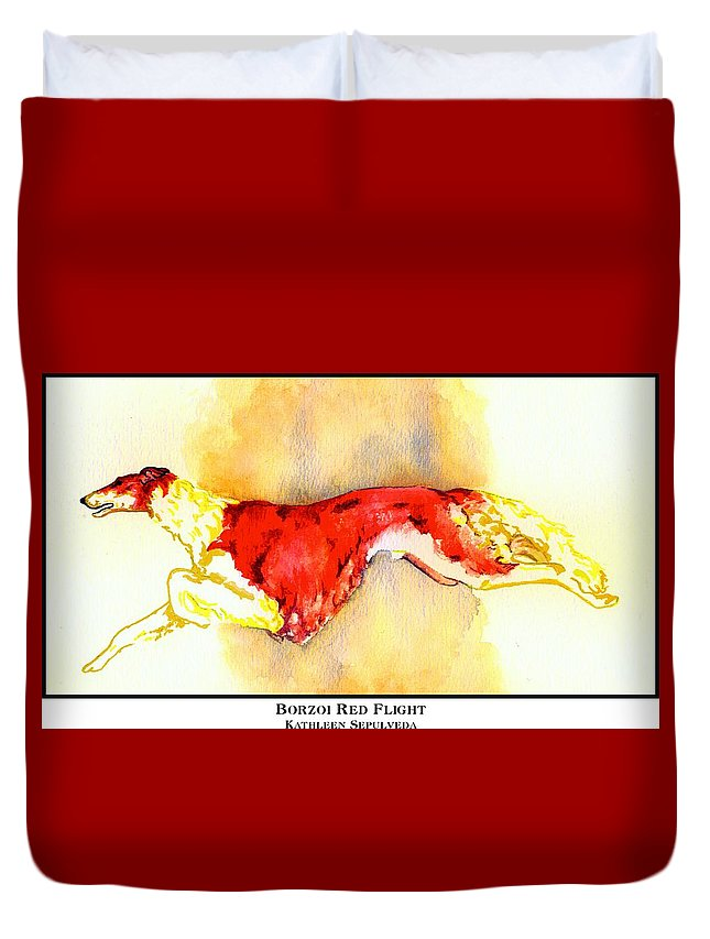 Borzoi Duvet Cover featuring the digital art Borzoi Red Flight by Kathleen Sepulveda