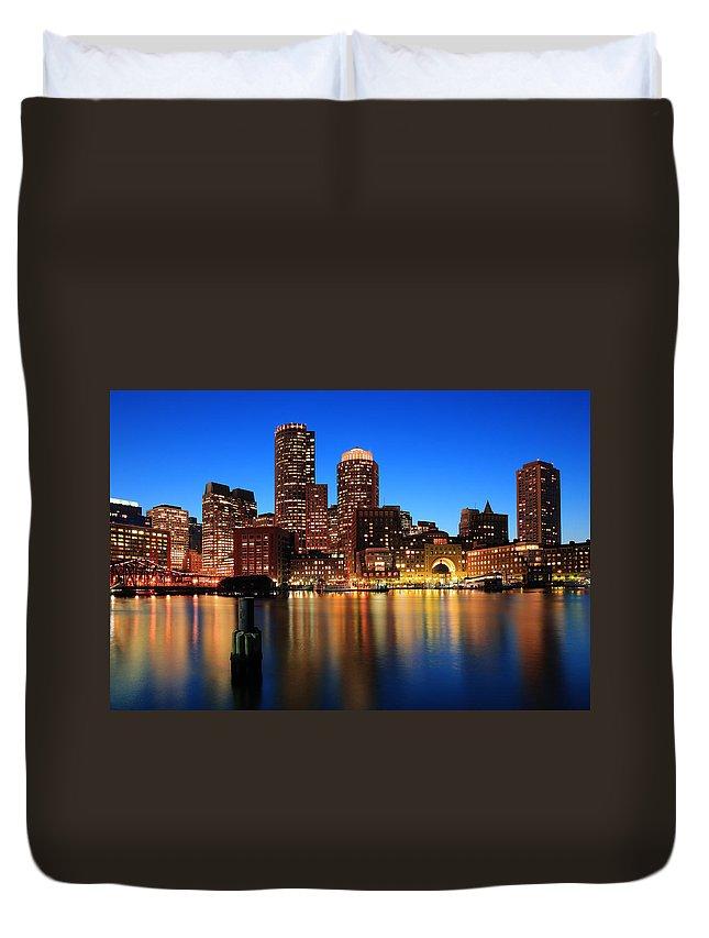 Boston Duvet Cover featuring the photograph Boston Aglow by Rick Berk