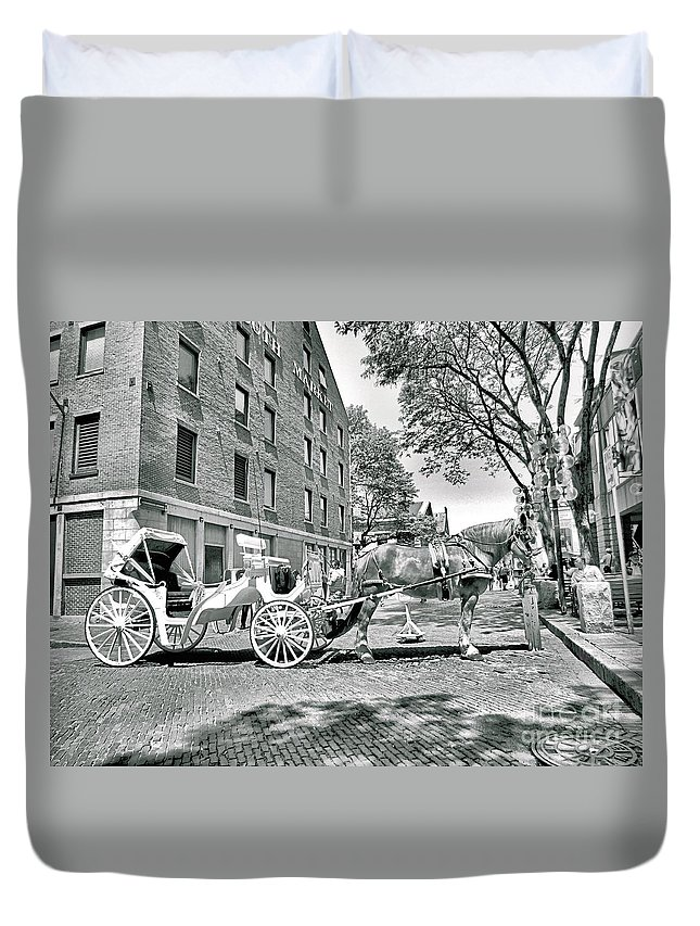 Faneuil Hall Duvet Cover featuring the photograph Boston Buggy by Elizabeth Dow