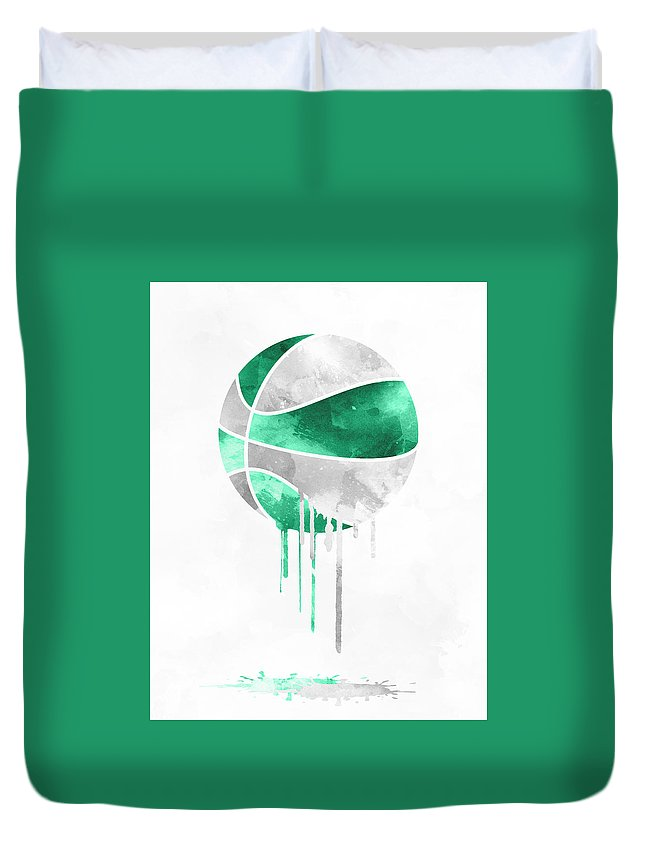 Celtics Duvet Cover featuring the mixed media Boston Celtics Dripping Water Colors Pixel Art by Joe Hamilton