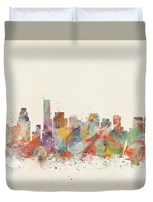 Boston City Skyline Duvet Cover featuring the painting Boston City by Bri Buckley
