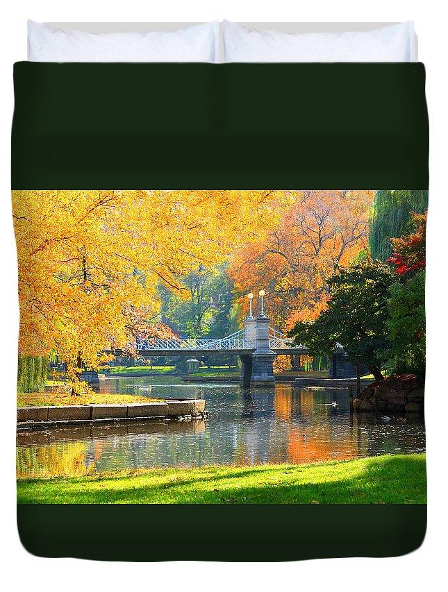 Boston Common Duvet Cover featuring the photograph Fall Season At Boston Common by Louis Rivera