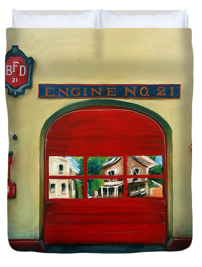 Fire House Duvet Cover featuring the painting Boston Fire Engine 21 by Paul Walsh