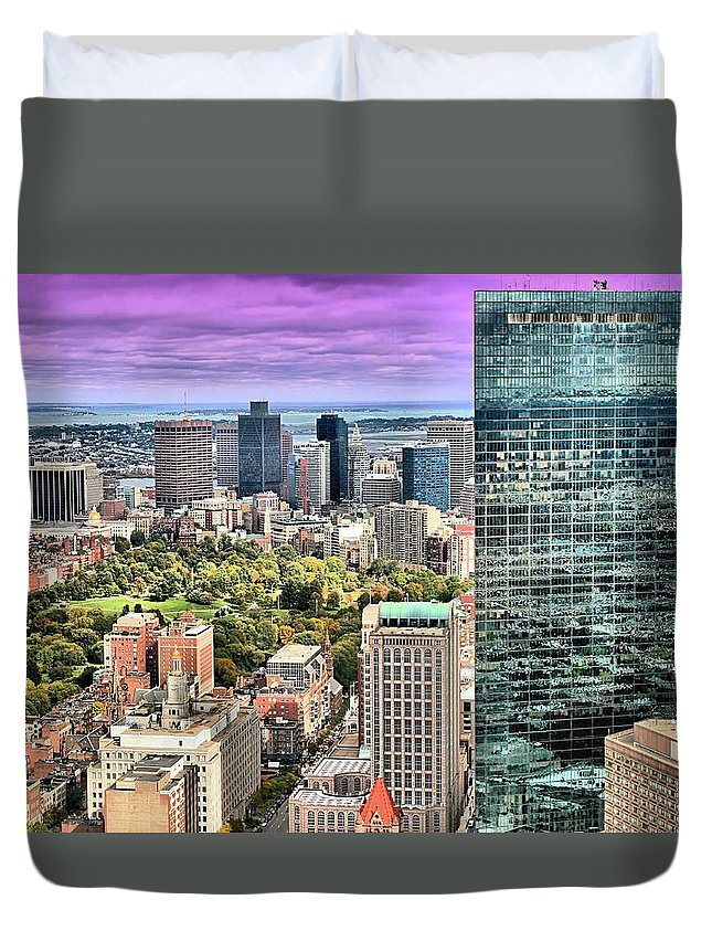 Boston Duvet Cover featuring the photograph Boston From Above by DJ Florek