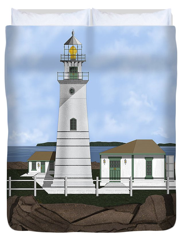 Lighthouse Duvet Cover featuring the painting Boston Harbor Lighthouse On Brewster Island by Anne Norskog