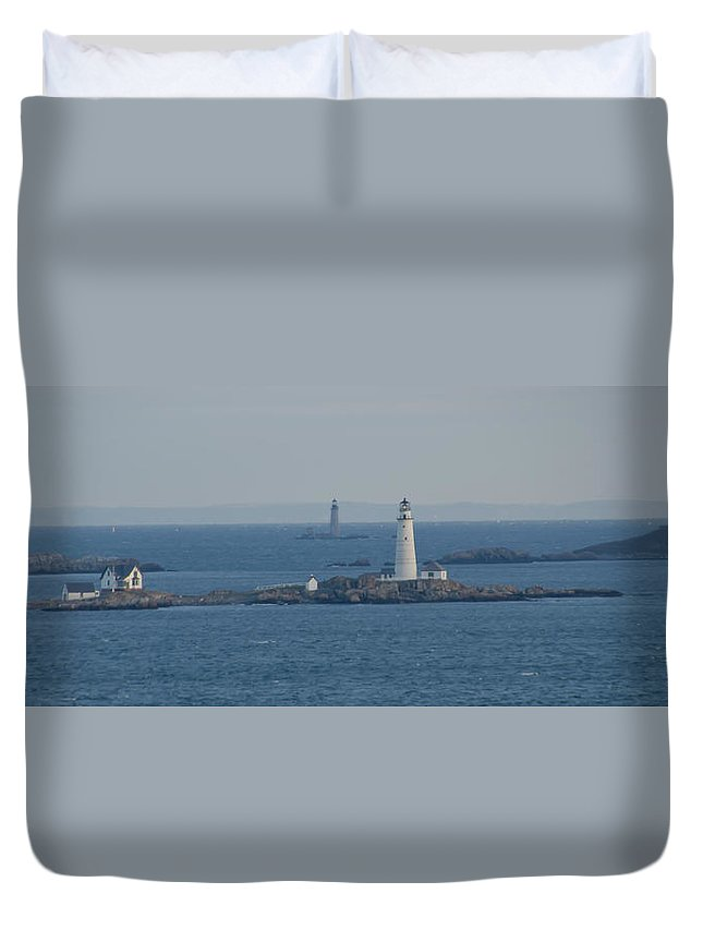 Boston Duvet Cover featuring the photograph Boston Light And The Grave Light Panorama by Bill Cannon