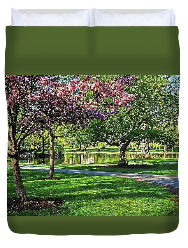 Boston Duvet Cover featuring the photograph Boston Public Garden Pond Through The Cherry Blossom Spring Day by Toby McGuire