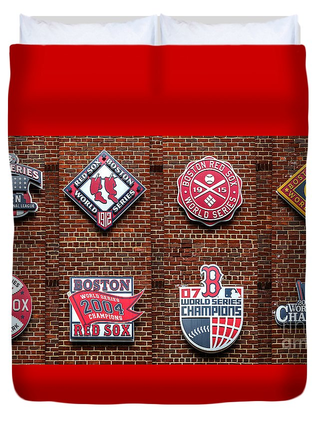 Red Sox Duvet Cover featuring the photograph Boston Red Sox World Series Emblems by Diane Diederich