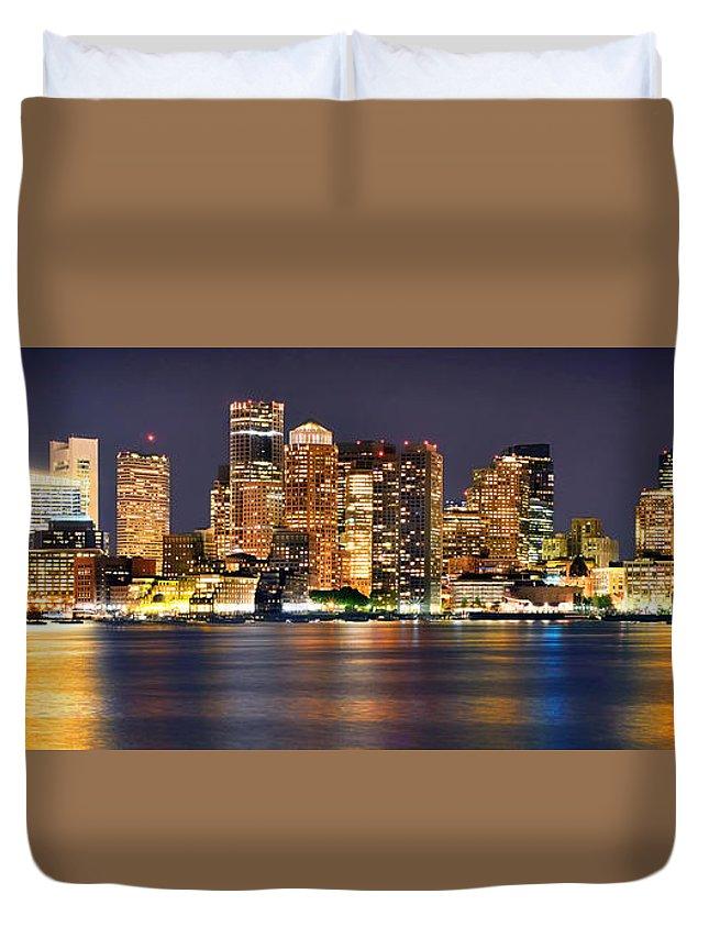 Boston Skyline At Night Duvet Cover featuring the photograph Boston Skyline At Night Panorama by Jon Holiday