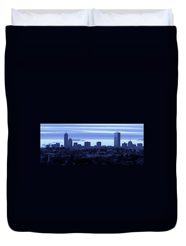 Boston Skyline From The Quarries Duvet Cover featuring the photograph Boston Skyline From Quincy by Bill Driscoll