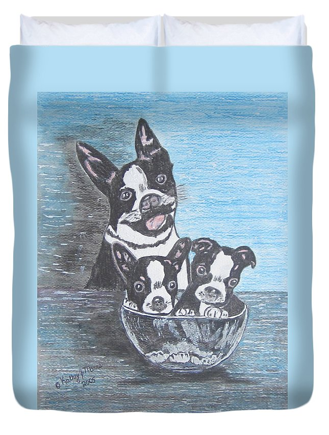 Boston Terrier Duvet Cover featuring the painting Boston Terrier Mom And Pups by Kathy Marrs Chandler