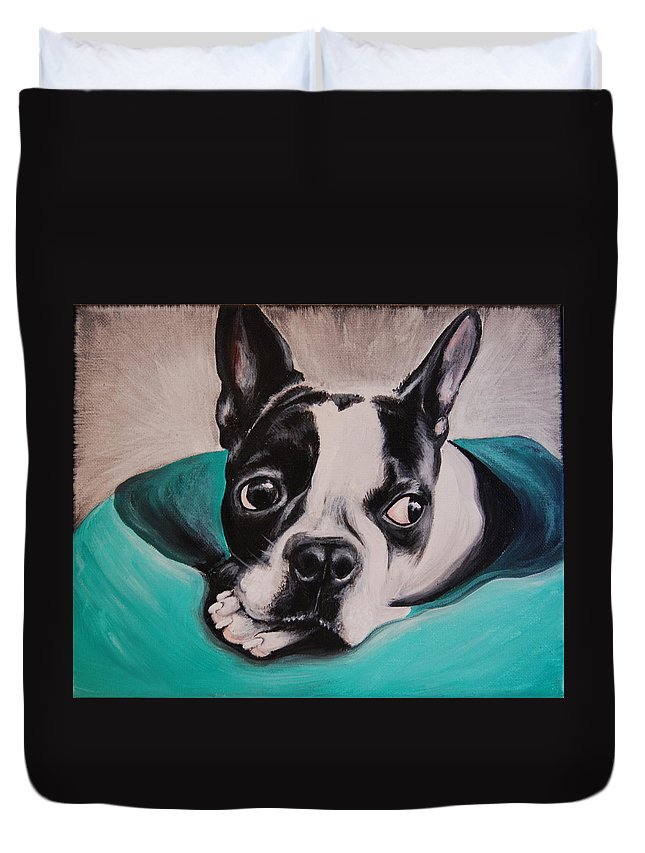 Pet Duvet Cover featuring the painting Boston Terrier Portrait by Emily Curtin