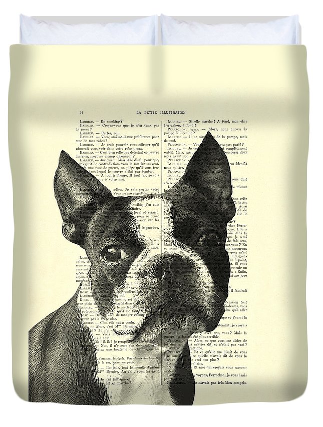 Boston Terrier Duvet Cover featuring the digital art Boston Terrier Portrait In Black And White by Madame Memento