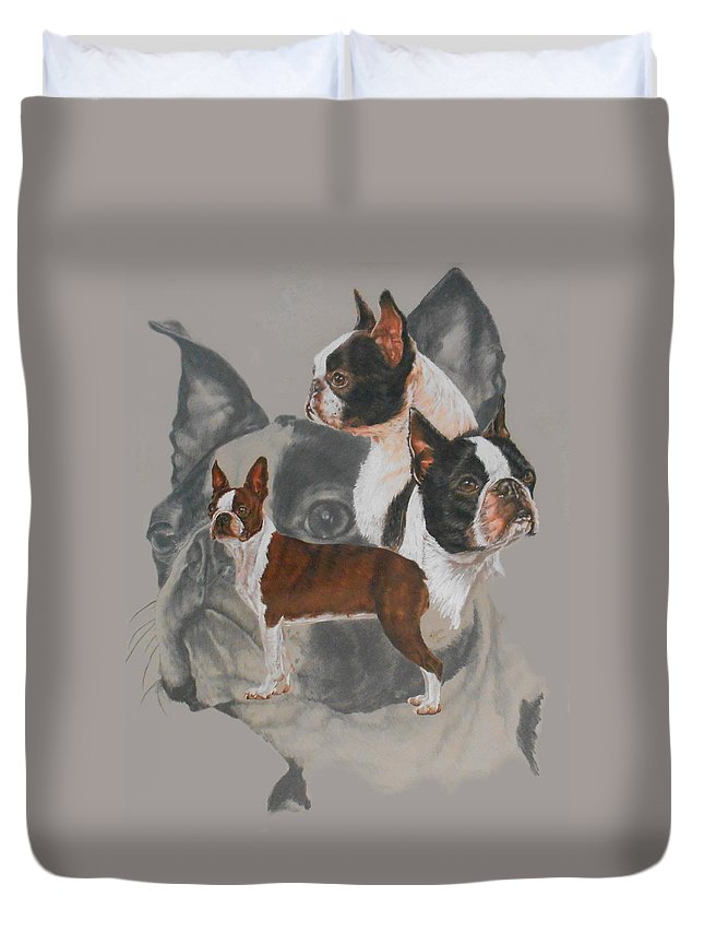 Boston Duvet Cover featuring the mixed media Boston Terrier Revamp by Barbara Keith