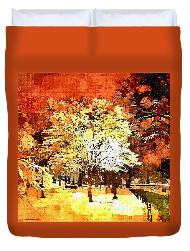 Impressionist Duvet Cover featuring the painting Boston Winter by Rachel Niedermayer