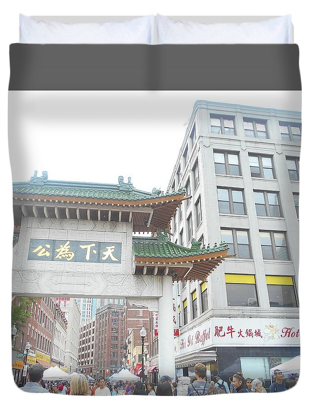 Boston Duvet Cover featuring the photograph Boston's Chinatown by Amanda D