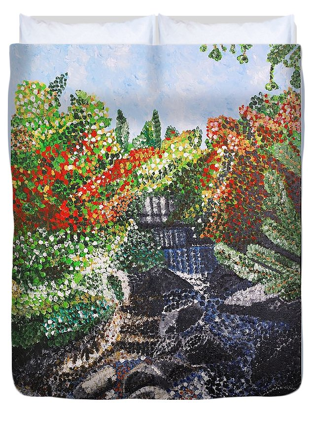 Landscape Duvet Cover featuring the painting Botanic Garden Merano 1 by Valerie Ornstein
