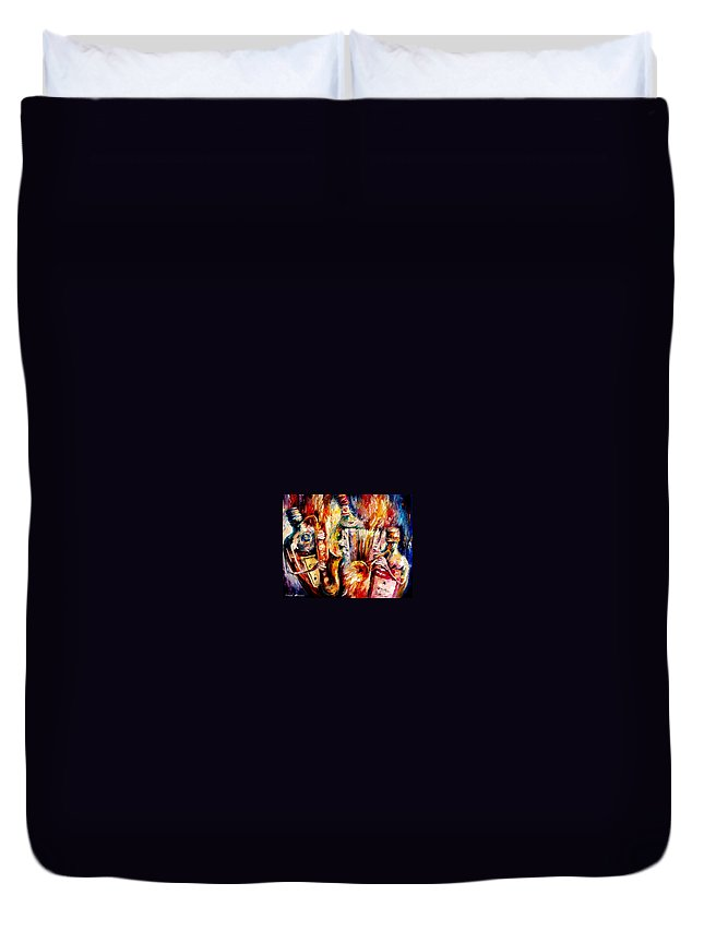 Bottle Jazz Duvet Cover featuring the painting Bottle Jazz by Leonid Afremov