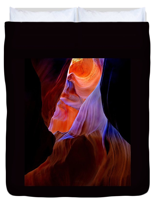 Canyon Duvet Cover featuring the photograph Bottled Light by Mike Dawson