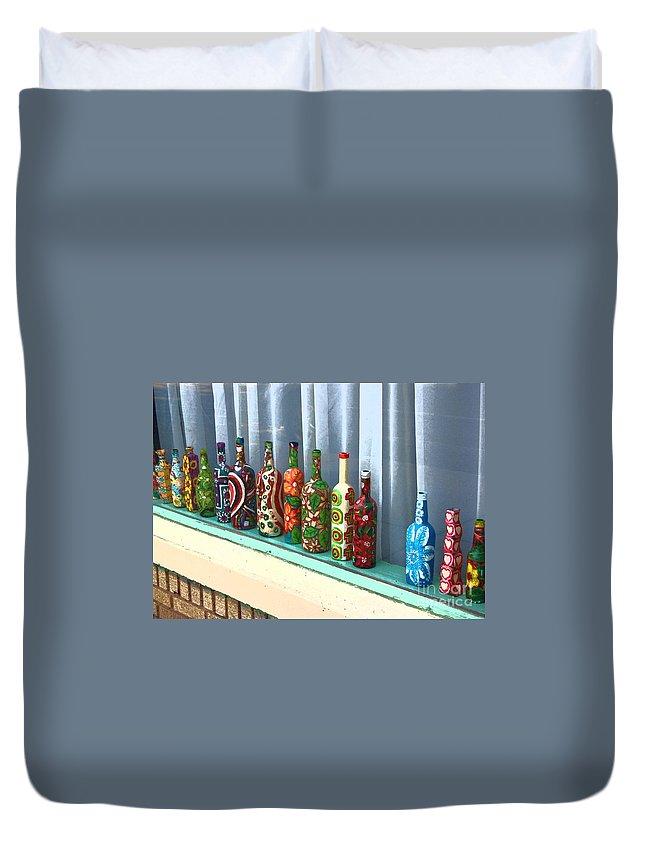 Bottles Duvet Cover featuring the photograph Bottled Up by Debbi Granruth