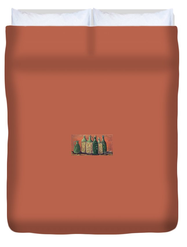 Bottle Duvet Cover featuring the painting Bottles by Jeanie Watson