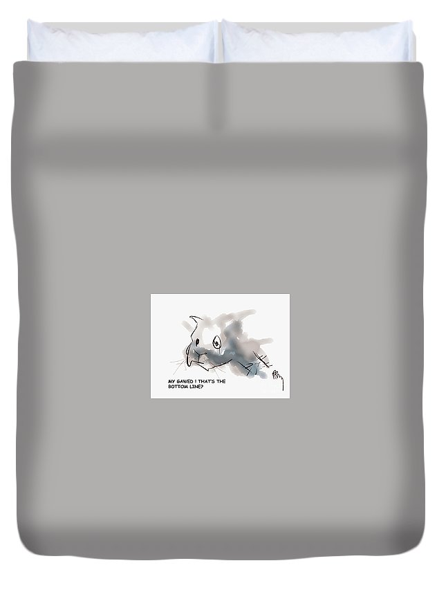 Cats That Are Cute Duvet Cover featuring the digital art Bottom Line by Paul Miller