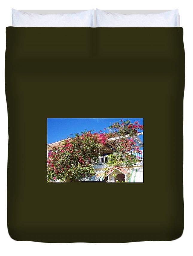Flowers Duvet Cover featuring the photograph Bougainvillea Villa by Debbi Granruth