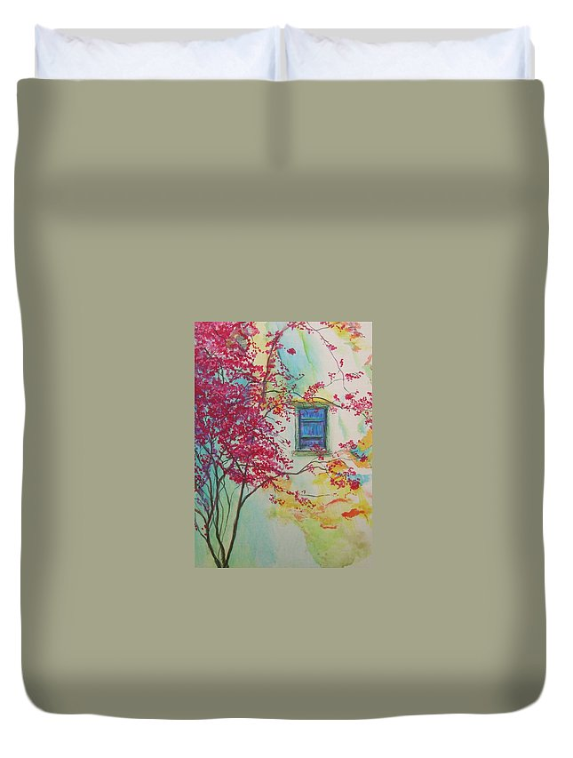 Bouganvilla Duvet Cover featuring the painting Bouganvilla And Blue Shutter by Lizzy Forrester