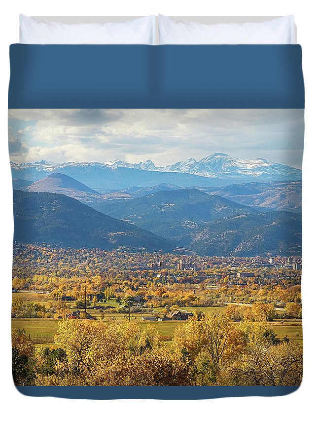 Rocky Mountains Duvet Cover featuring the photograph Boulder Colorado Autumn Scenic View by James BO Insogna