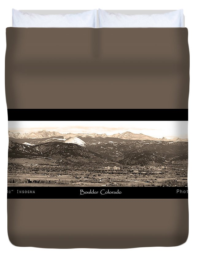 Boulder Duvet Cover featuring the photograph Boulder Colorado Sepia Panorama Poster Print by James BO Insogna