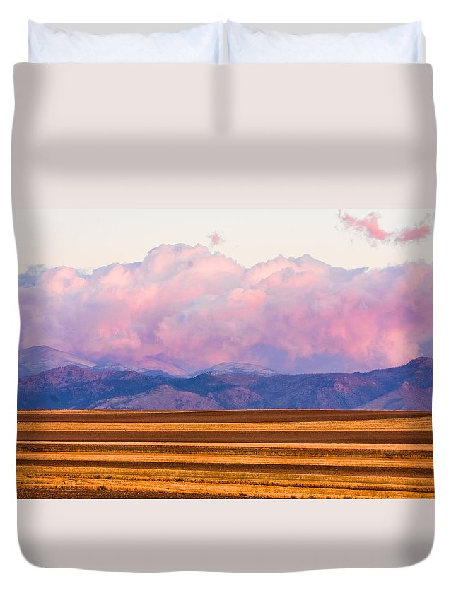 \nature Photography\ Duvet Cover featuring the photograph Boulder County Farm Fields At First Light Sunrise by James BO Insogna