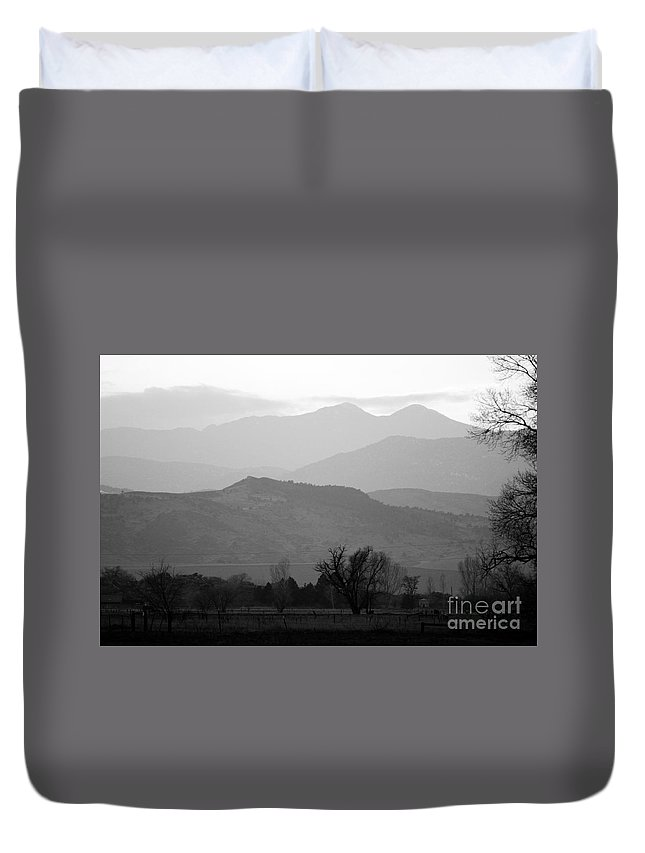 Foothills Duvet Cover featuring the photograph Boulder County Foothills To The Rockies Bw by James BO Insogna