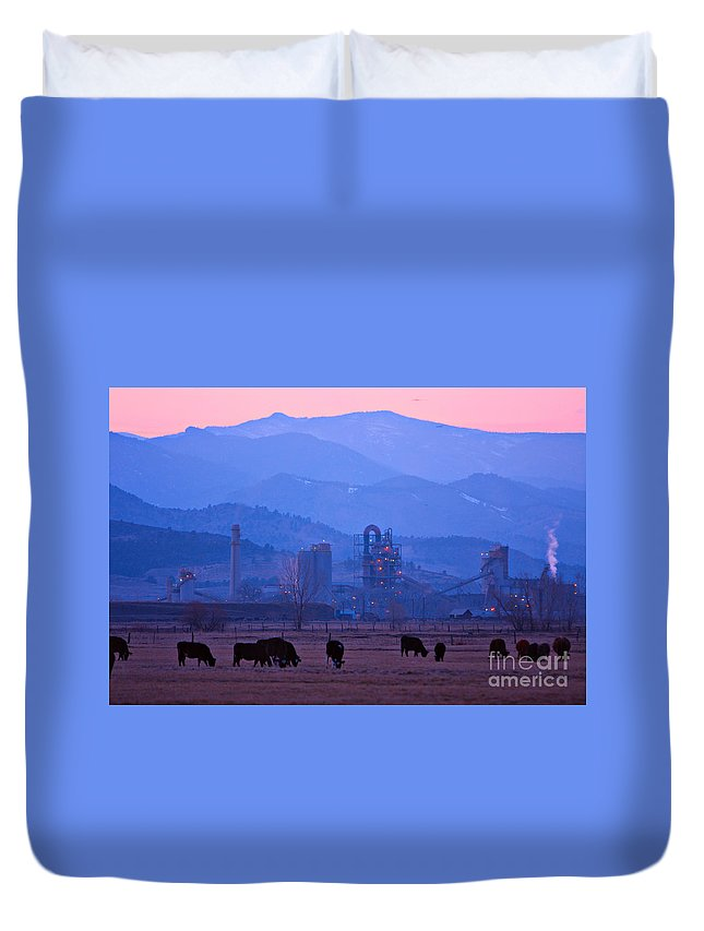 Boulder Duvet Cover featuring the photograph Boulder County Industry Meets Country by James BO Insogna