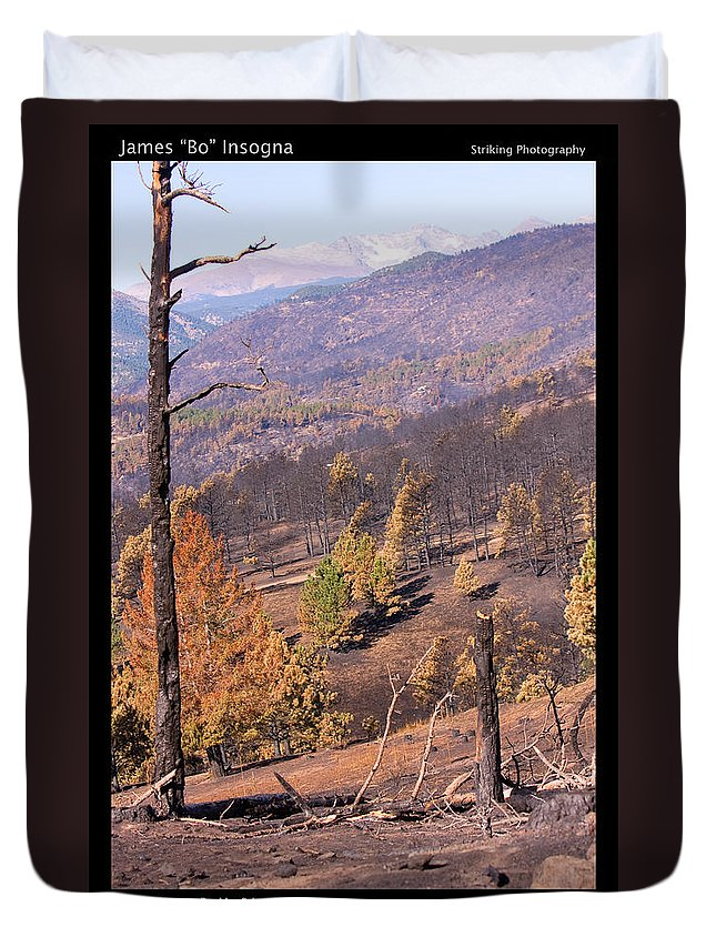 4 Mile Canyon Fire Duvet Cover featuring the photograph Boulder County Wildfire 5 Miles West Of Downtown Boulder by James BO Insogna